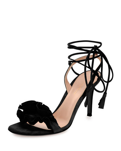 666f12580ed Gianvito Rossi Ruffled Suede Lace-Up Sandal