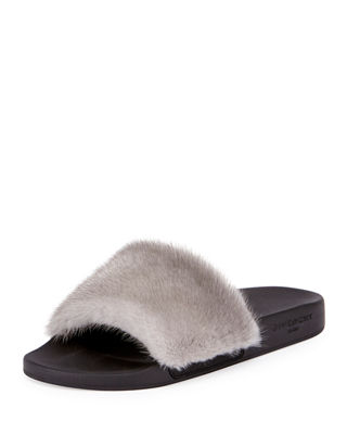 Givenchy Mink Fur Slide Sandals