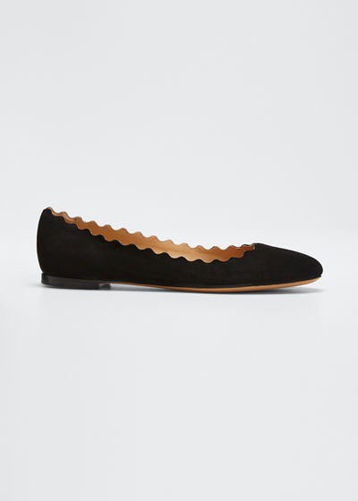 Scalloped Suede Ballerina Flat