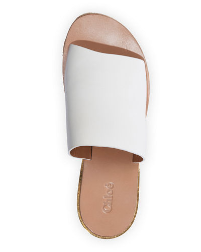 Leather Platform Sandal Slides