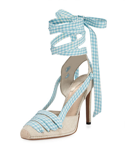 Gingham Ankle-Wrap Sandal