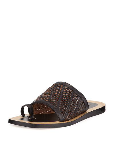 Avril Woven Napa Leather Slide Sandal