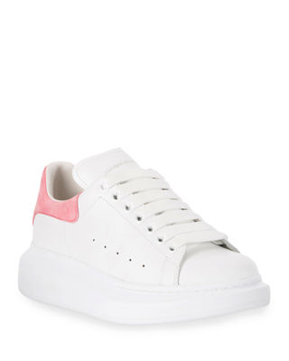 White Exaggerated Sole Leather Sneakers