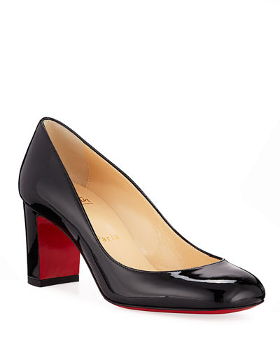 Cadrilla Patent Block-Heel Red Sole Pump