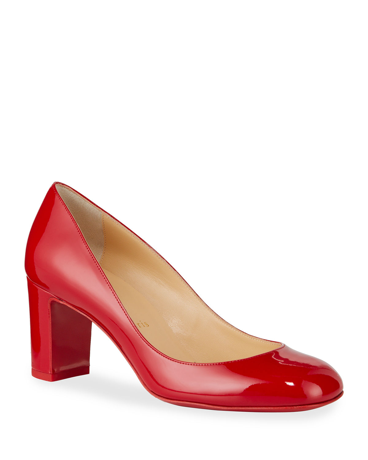best service 95a57 cb71a Cadrilla Patent Block-Heel Red Sole Pump