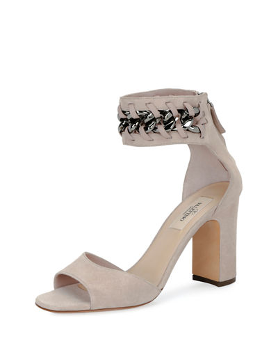 Suede Chain Ankle-Wrap Sandal