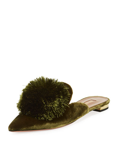 551c01db2 Aquazzura Powder Puff Pompom Mule Flat