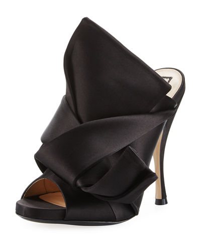 Pleated Satin 100mm Mule Sandals
