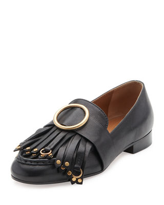 Chloé Kiltie Leather Loafers