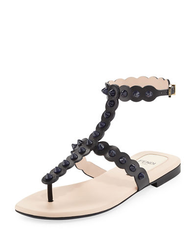 Studded Ankle-Wrap Flat Thong Sandal