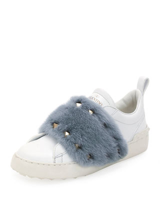Open Mink Fur-Trimmed Leather Sneakers in White