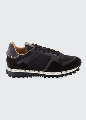 Women'S Studded Suede & Camo Sneakers, Black