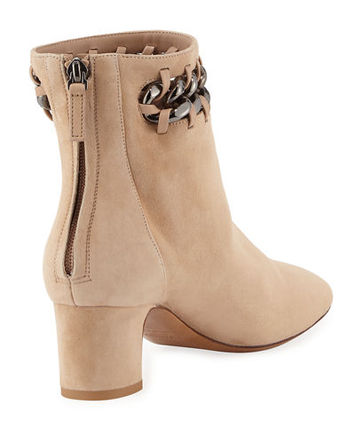 Chain-Trim Suede Ankle Boot