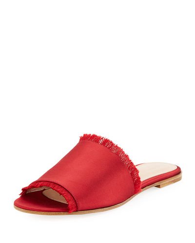 Fringed Satin Mule Slide