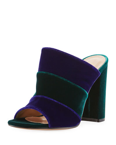 Colorblock Velvet 100mm Mule Sandal