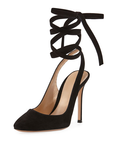 Suede Ankle-Tie 105mm Pump