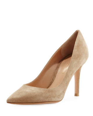 Gianvito 85 Suede Point-Toe 85Mm Pump in Bisque
