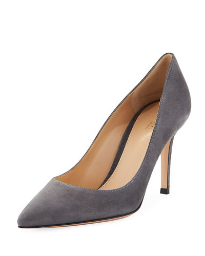 Gianvito 85 Suede Point-Toe  Pumps