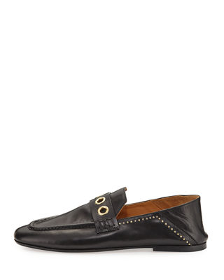 Isabel Marant Leather Square-Toe Loafers