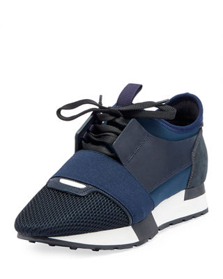 Race Sneakers With Leather, Mesh And Suede, Bleu Nuit