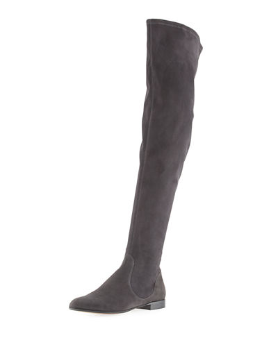 Gianvito Rossi Felder Flat Cuissard Flat Stretch-Suede Over-the-Knee Boot