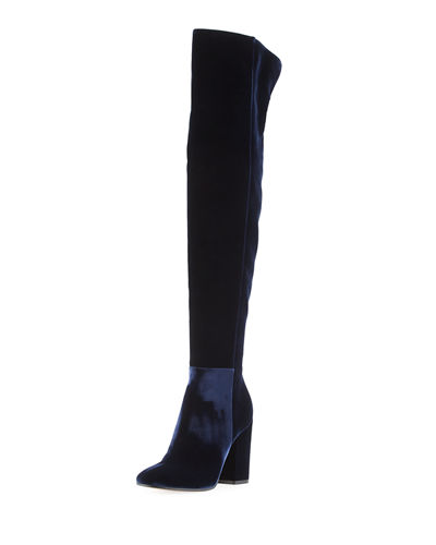 Velvet Over-the-Knee Block-Heel Boot
