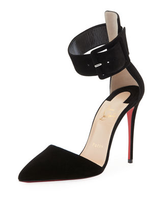 Christian Louboutin Suede T-Strap Pumps