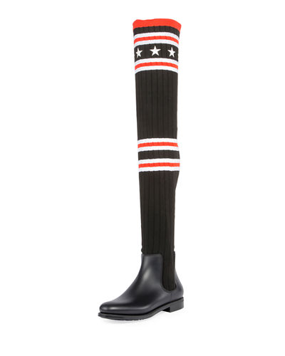 Over-the-Knee Rubber Sock Boot