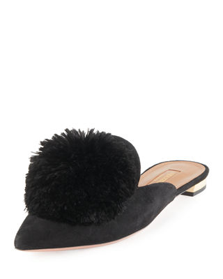 Powder Puff Pompom-Embellished Suede Slippers, Black