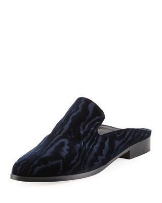 Alice Devoré Velvet Backless Loafers in Blue