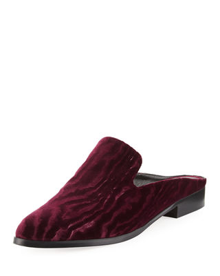Alice Textured Velvet Smoking Slipper Mules in Red