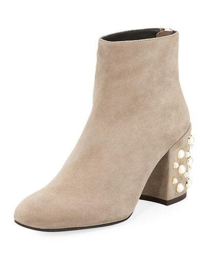Pearlbacari Embellished Suede Bootie