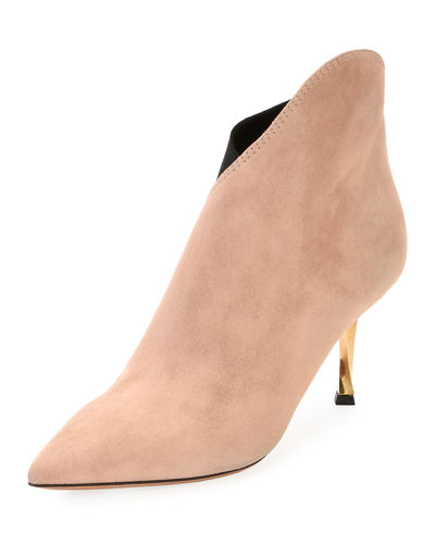 Asymmetric Suede Ankle Boot