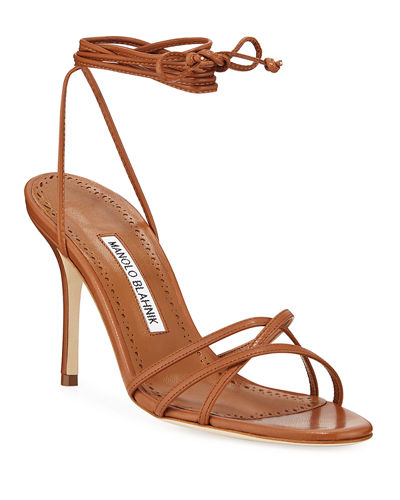 952cfb791d66 Manolo Blahnik Leva Metallic Strappy Ankle-Wrap Sandals