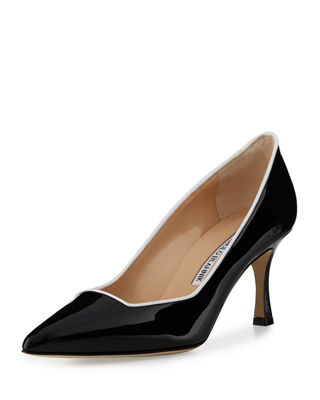 Manolo Blahnik Suede Pointed Square-Toe Pumps