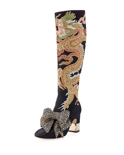 eHOHVi9k5w Candy Dragon Embroidered Block-Heel Knee Boot F2cK6