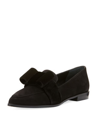 Stuart Weitzman Suede Bow Loafers