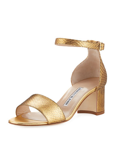 Lauratom Snake-Embossed Leather Sandal