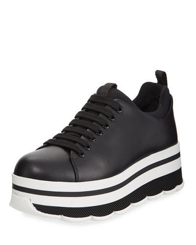 aee54315d8308 Prada Linea Rossa Leather Lace-Up Platform Sneaker