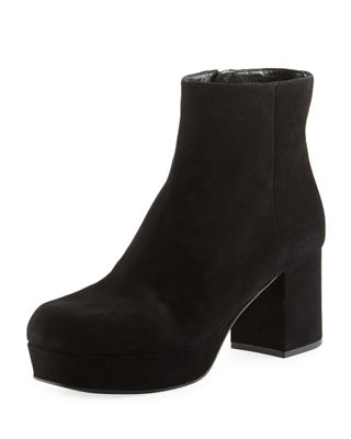 Prada Round-Toe Suede Ankle Boots