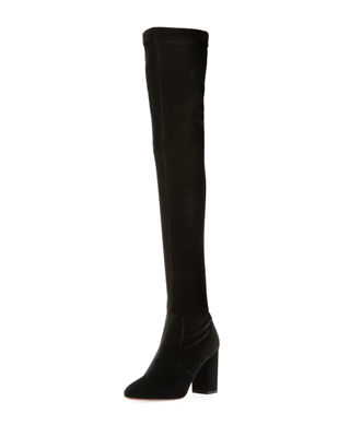 SO ME VELVET OVER-THE-KNEE BOOTS
