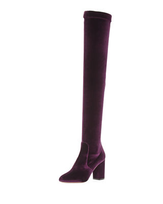 PURPLE SO ME 85 BOOTS IN VELVET OVER THE KNEES