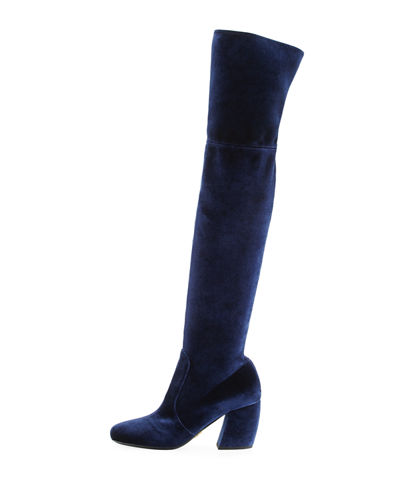 Stretch-Velvet Knee Boot