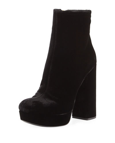 wide range of online outlet find great Prada Velvet Round-Toe Ankle Boots great deals tumblr online PoDLPxfy