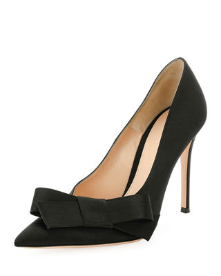 GIANVITO ROSSI Kyoto 100 Bow-Embellished Satin Pumps, Black