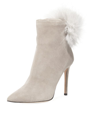 TESLER 100 MOONSTONE SUEDE BOOTIES WITH WHITE FOX FUR POM POMS