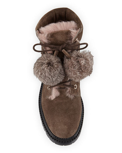 Elba Suede Hiker Boot w/Fur Pompoms