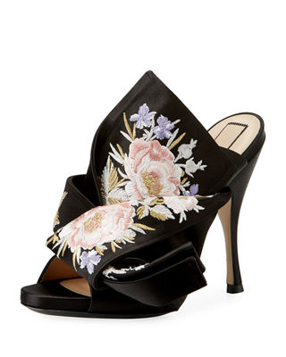Theory Floral Satin Mules