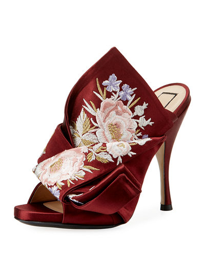 Floral-Embroidered Satin Mule Pump