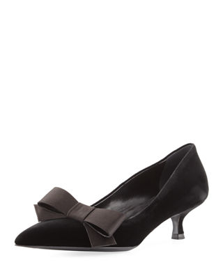 Prada Satin Bow Accented Pumps